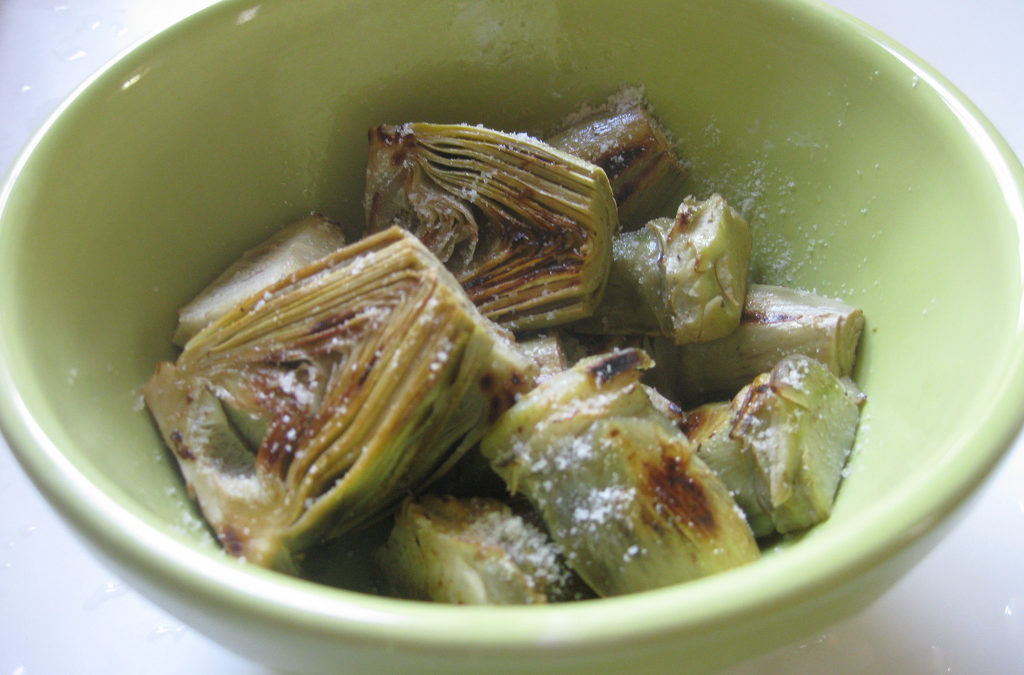 PAN ROASTED BABY ARTICHOKES WITH THYME AND PARMESAN